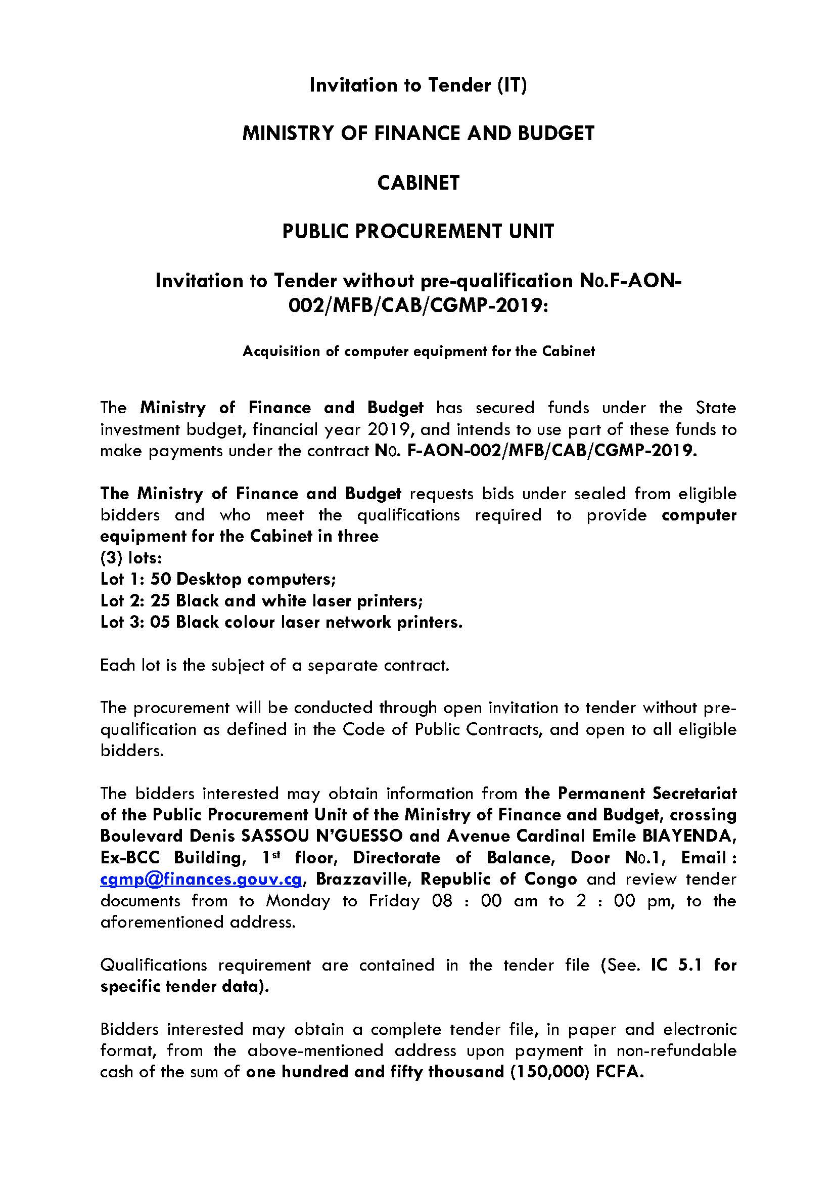 Invitation to Tender without pre-qualification N0 F-AON-002