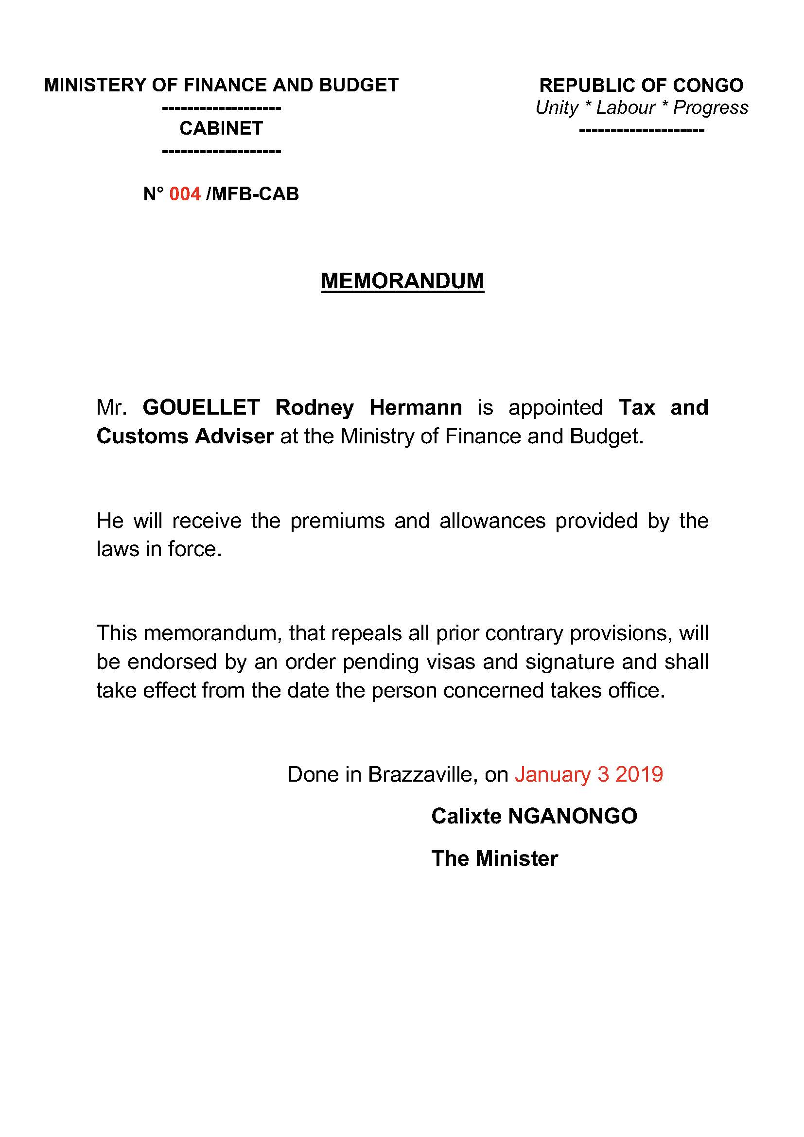 Memorandum N 004 MFB CAB Relating To The Appointment Of The